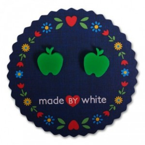 Apple Earrings Green by Made by White