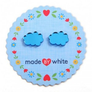 Blue Mirror Cloud Earrings by Made by White