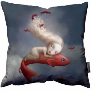 Nicoletta Ceccoli Fish Girl Pillow