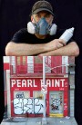 Artist Randy Hage with Pearl Paint Miniature Sculpture