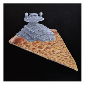 Super Cheesy Star Destroyer Cheese Pizza Print by Roland Tamayo