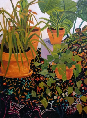 Plants on Black Wool Embroidered Bedcover by Anna Valdez