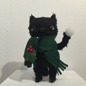 Christmas Cat with Green Scarf by Yetis Friends