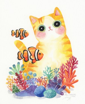The Series of the Aquarium Cat - Clownfish by Shanghee Shin