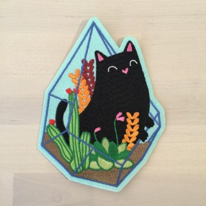 Terrarium Cat Patch by Natelle Draws Stuff