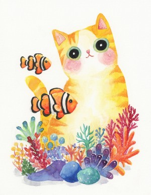 The Series of the Aquarium Cat – Clownfish Print by Shanghee Shin