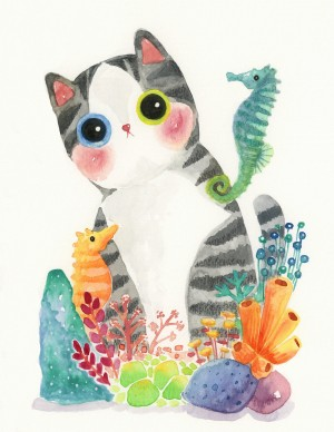 The Series of the Aquarium Cat – Seahorse Print by Shanghee Shin