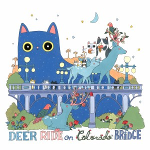 Deer Ride on Colorado st Bridge by Shanghee Shin Print