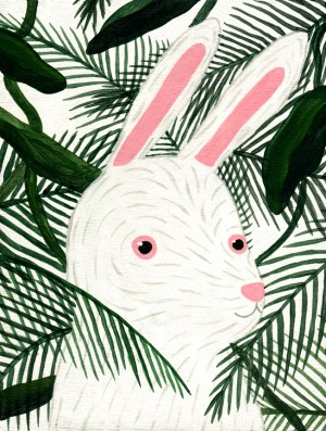 Tiny Rabbit and Palm Trees by Liten Kanin aka Tory Lin