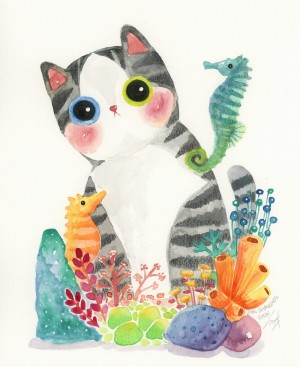 The Series of the Aquarium Cat - Seahorse by Shanghee Shin