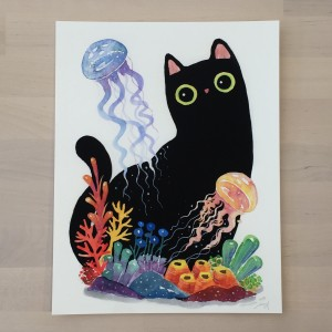 The Series of the Aquarium Cat - Jellyfish Print by Shanghee Shin Signed