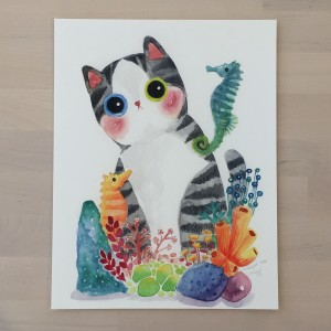 The Series of the Aquarium Cat - Seahorse Print by Shanghee Shin Signed