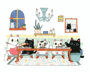 Stay Home Dinner Time by Shanghee Shin Print